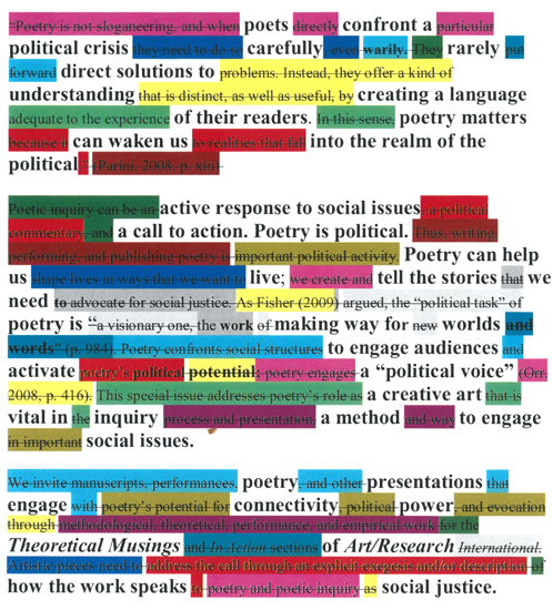 Poetry as Social Justice Erasure of Call for Papers by Sandra L. Faulkner