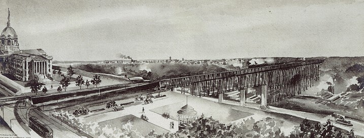 Watercolor image of the High Level Bridge under construction, ca. 1909