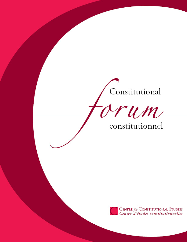 View Vol. 30 No. 2 (2021): Constitutional Forum constitutionnel