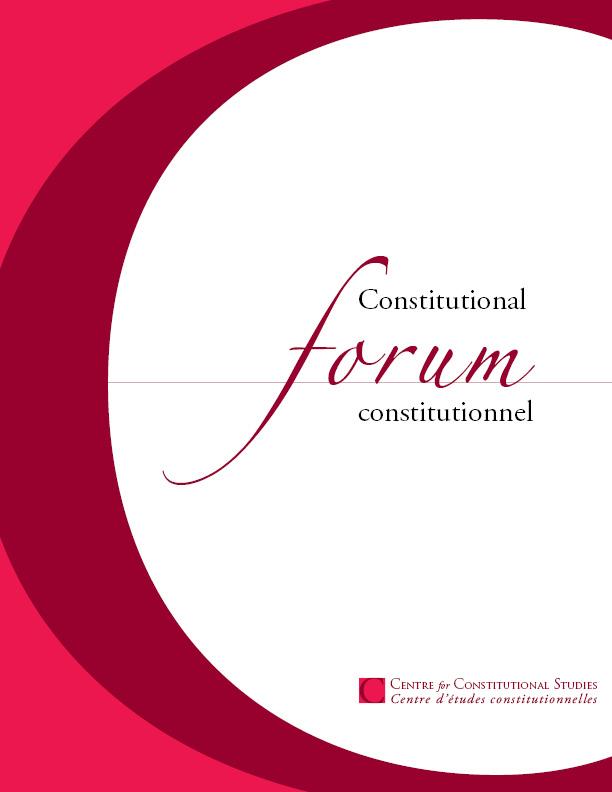 View Vol. 30 No. 3 (2021): Constitutional Forum constitutionnel